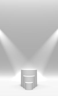 Podio, piedistallo o piattaforma di colore bianco illuminato da faretti su sfondo bianco. illustrazione astratta di semplici forme geometriche. rendering 3d.