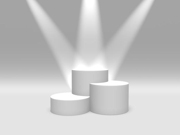 Podio, piedistallo o piattaforma di colore bianco illuminato da faretti su sfondo bianco