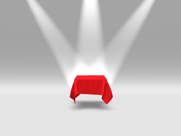 Podio, piedistallo o piattaforma ricoperti di stoffa rossa illuminata da faretti. rendering 3d.