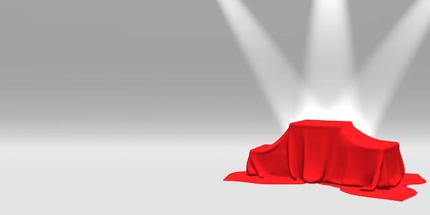 Podio, piedistallo o piattaforma ricoperti di stoffa rossa illuminata da faretti.