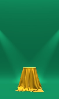 Podio, piedistallo o piattaforma ricoperti di tessuto dorato illuminato da faretti. rendering 3d.