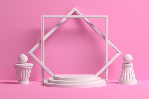 Podio rosa romantico di presentazione con spazio vuoto e forme architettoniche astratte