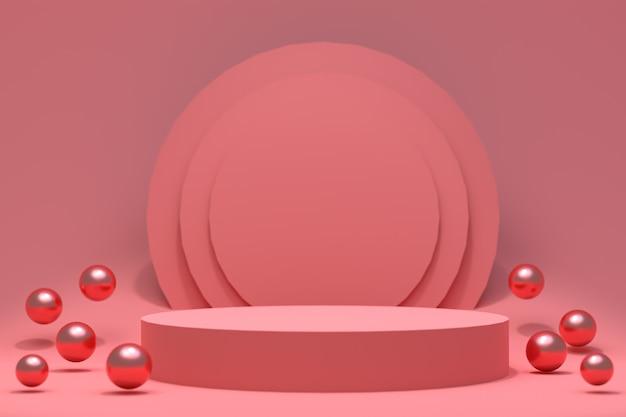 Podio rosso astratto minimo per la presentazione del prodotto