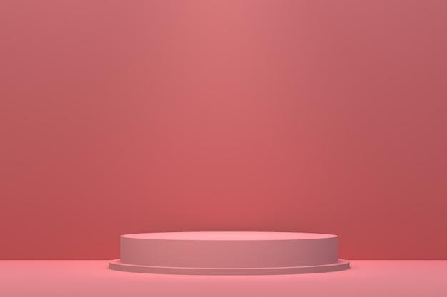 Podio rosso sfondo astratto minimo per la presentazione del prodotto cosmetico