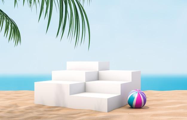 Podio scala bianco con parete da spiaggia estiva per esposizione del prodotto.