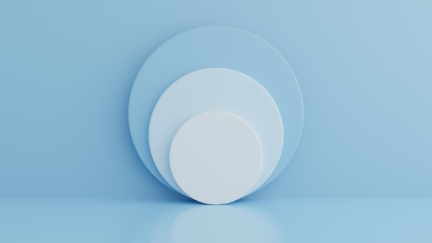 Podio su sfondo di colore blu per prodotto, forma geometrica, concetto minimo. rendering 3d