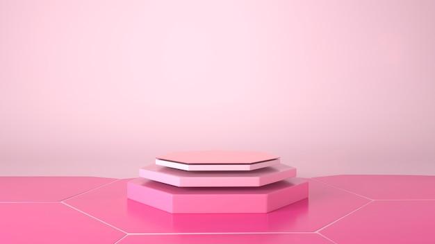 Podio vetrina esagonale in sfondo rosa.