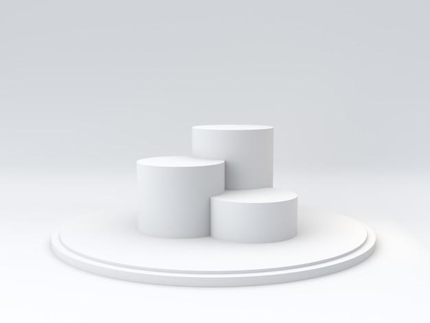 Podio vuoto dei vincitori su fondo bianco. rendering 3d