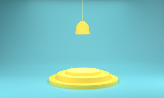 Podium design 3d illustration giallo e luce verde acqua design