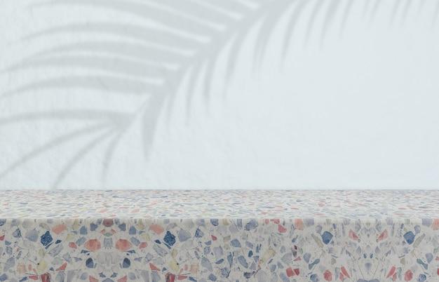 Poduim di bellezza naturale per l'esposizione di prodotti cosmetici. sfondo di bellezza moda con trama di terrazzo.