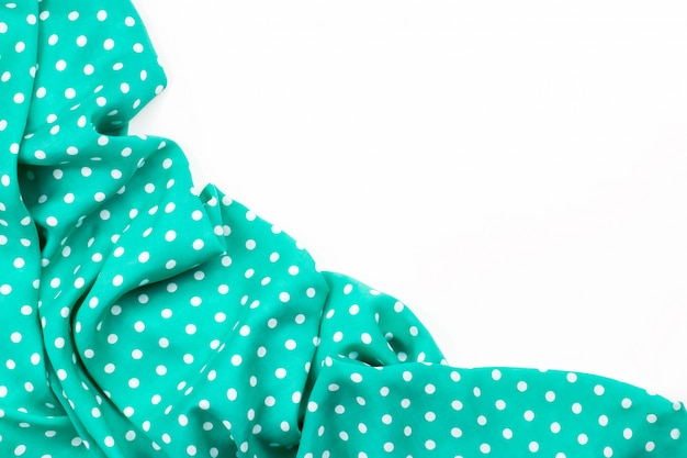 Polka dot sfondo verde bordo di tessuto