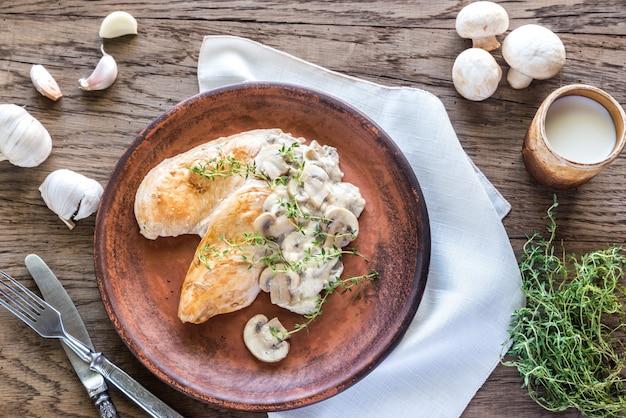 Pollo ai funghi cremoso all'aglio