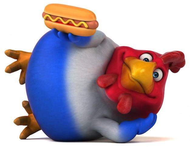 Pollo divertente con hot dog
