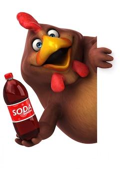 Pollo divertente con una bottiglia di soda