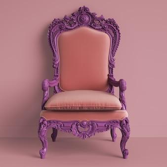 Poltrona classica barocca di colore viola. rendering 3d