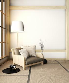 Poltrona divano in camera zen con pavimento in tatami e decorazione in stile giapponese. rendering 3d