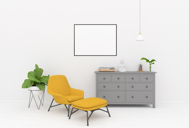 Poltrona gialla nella stanza bianca