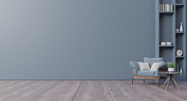 Poltrona interna del salone moderno in salone moderno con, tavola, fiore e pianta sulla parete di legno