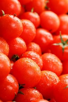 Pomodori ciliegia freschi con il primo piano.