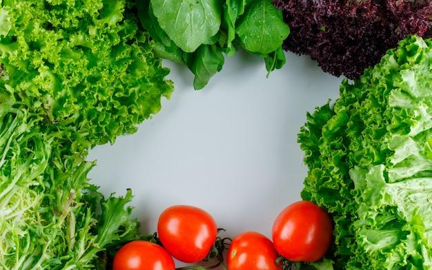 Pomodori con verdure a foglia verde, lattuga rossa, piatto disteso.