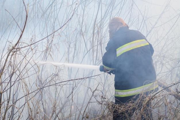 Pompiere professionista è in piedi nel fumo, spruzza acqua per l'incendio in campagna