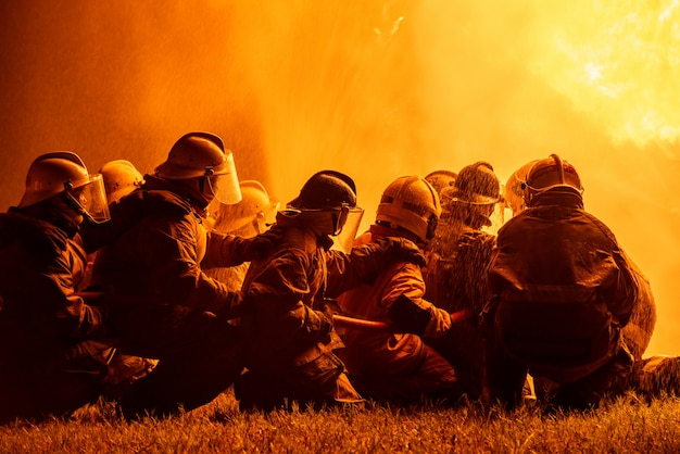 Pompieri e addestramento di salvataggio.