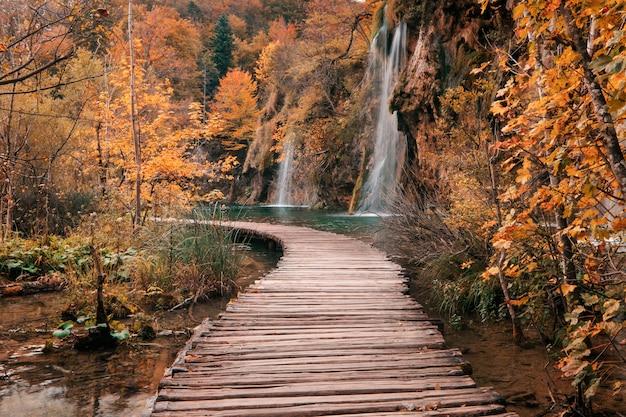 Ponte di legno attraverso il fiume nella stagione autunnale