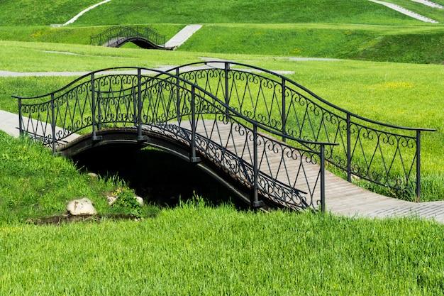 Ponte di legno con ringhiera in ferro battuto nel parco.