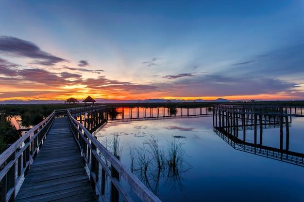 Ponte di legno nel lago di loto su tempo di tramonto a khao sam roi yot national park, tailandia
