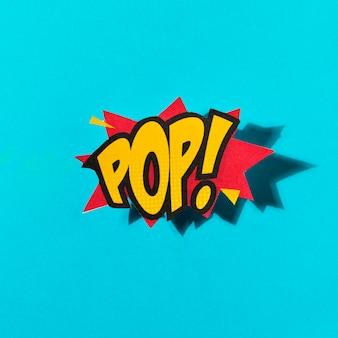 Pop lettering in stile cartone animato dinamico luminoso su sfondo blu