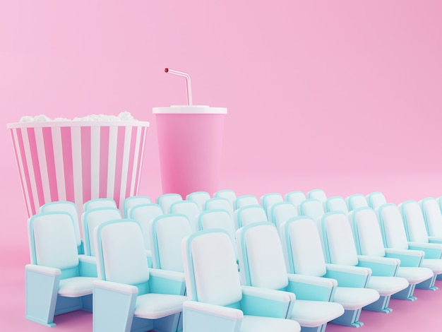 Popcorn 3d e bevanda sul sedile del teatro.