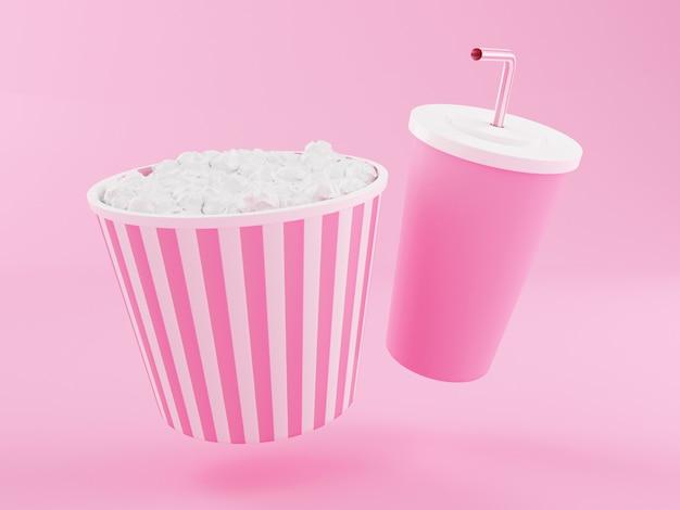 Popcorn e bevanda 3d.