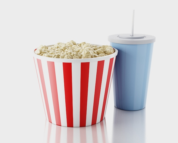 Popcorn e bevande. concetto di film immagine di rendering 3d.