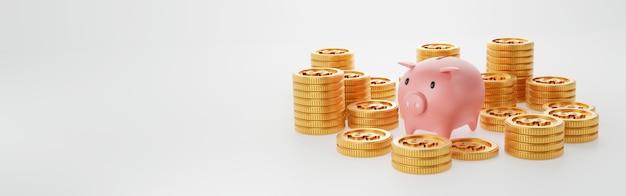 Porcellino salvadanaio con la moneta di oro sulla parete bianca isolata. risparmio di denaro e concetto di investimento economico aziendale