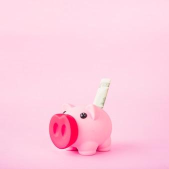 Porcellino salvadanaio con soldi su sfondo rosa