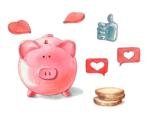 Porcellino salvadanaio rosa, come i soldi pollice in su cuore rosso
