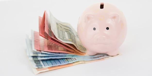 Porcellino salvadanaio rosa con le euro fatture su un bianco