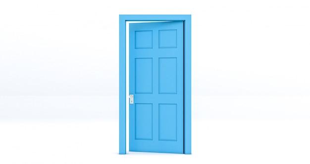 Porta aperta blu isolata su bianco