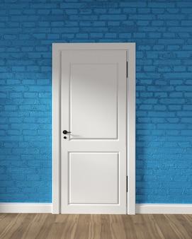 Porta bianca del granaio moderno e muro di mattoni blu sul pavimento di legno. rendering 3d