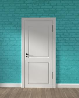 Porta bianca del granaio moderno e muro di mattoni della menta sul pavimento di legno. rendering 3d