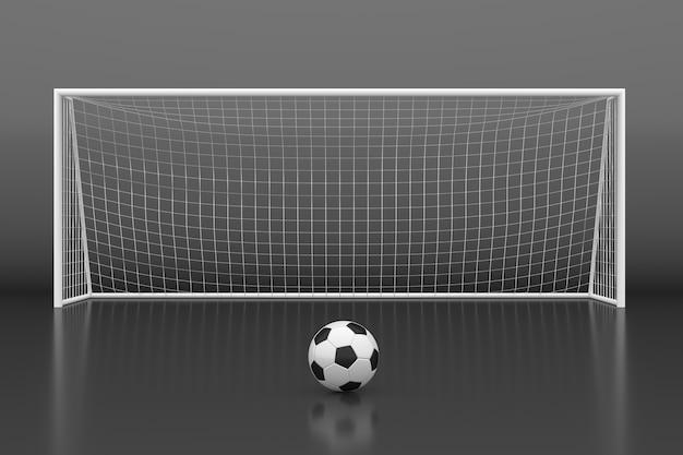 Porta da calcio con palla