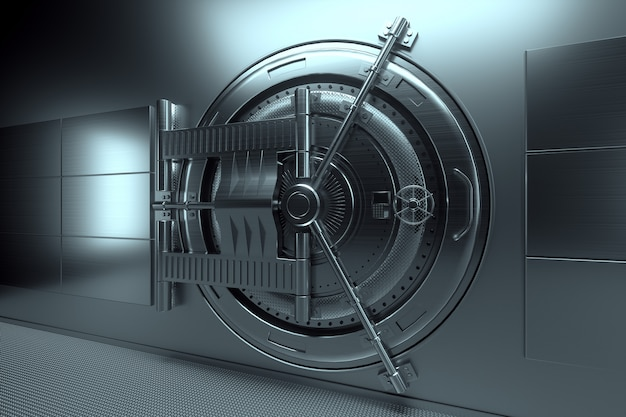 Porta del caveau di una banca, grande cassaforte, metallo robusto. il concetto di depositi bancari, depositi, celle, buona protezione del risparmio. copi lo spazio, l'illustrazione 3d, 3d rendono.