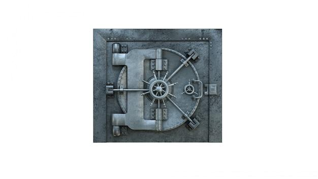 Porta del caveau in banca su bianco