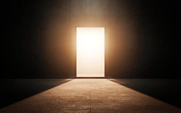 Porta luminosa in una stanza buia