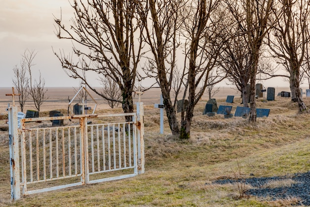 Porta nel cimitero della chiesa di kalfafellsstadur in islanda