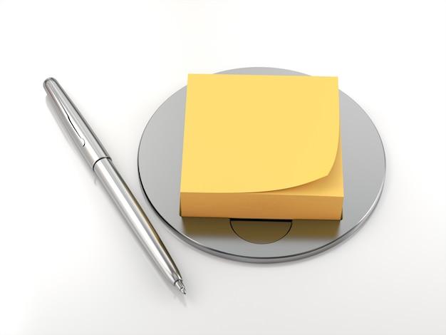 Porta post e penna. rendering 3d
