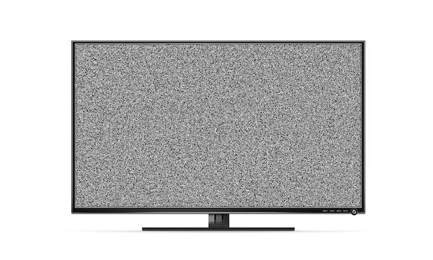 Porta tv a schermo piatto nero con rumore bianco isolato