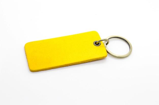 Portachiavi in pelle gialla