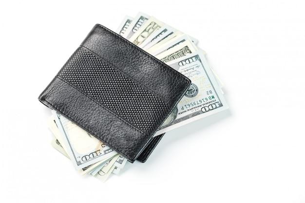 Portafoglio nero con bianco isolato onn di dollari in vera pelle.