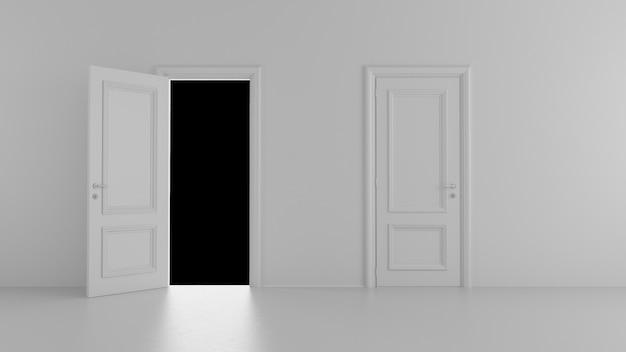 Porte aperte e chiuse in una stanza bianca
